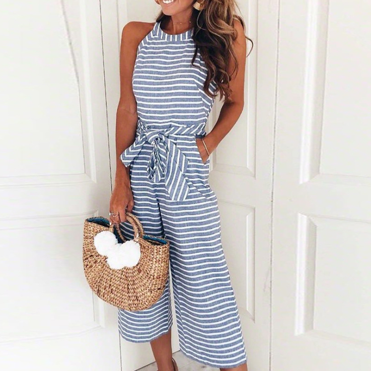 Fashion Slim Sexy Stripes Round Neck Jumpsuit