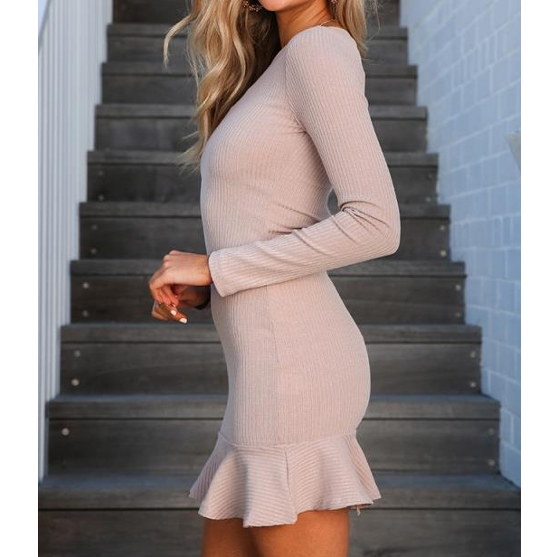Slim Long-Sleeved Round Neck Ruffled Dress