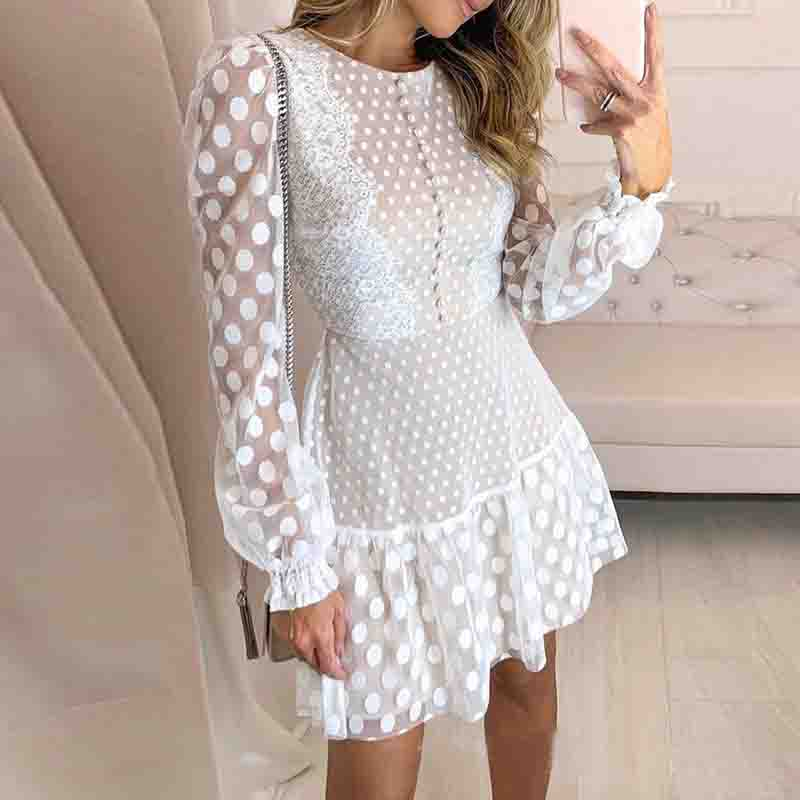 Fashion Stitching Lace Long Sleeve Dress