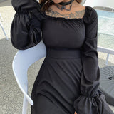 Vintage Long-Sleeved Halter Ruffled Dress