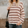 Striped Large Size Women's Knit Long Sleeve Sweater