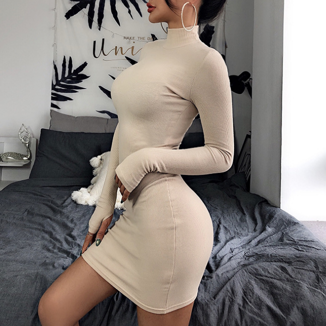 Fashion Sexy Solid Color Long Sleeve Turtleneck Dress