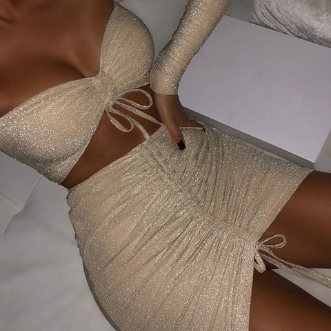 Fashion Embroidered White Two-piece Dress