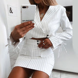 Long Sleeve Fashion Stripe Two-piece Set