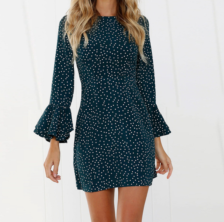 Fashion Printed Round Neck Long Sleeve Dress