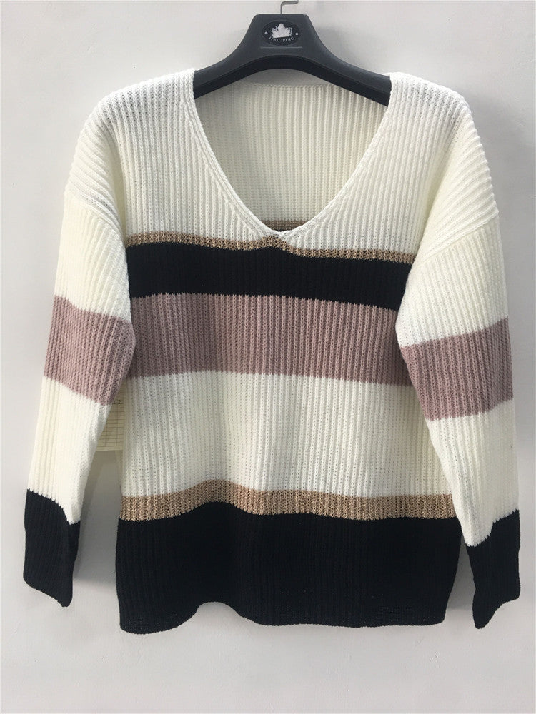 Knitting V-Neck Long Sleeve Striped Color Matching Sweater