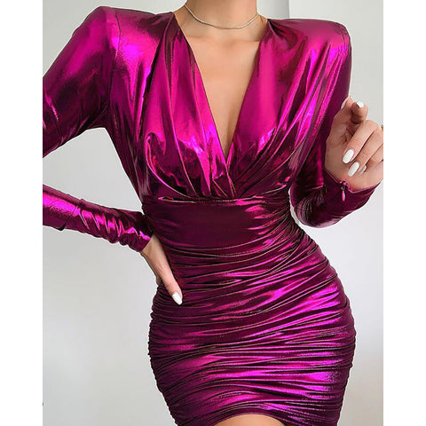 Sexy round neck long-sleeved dress