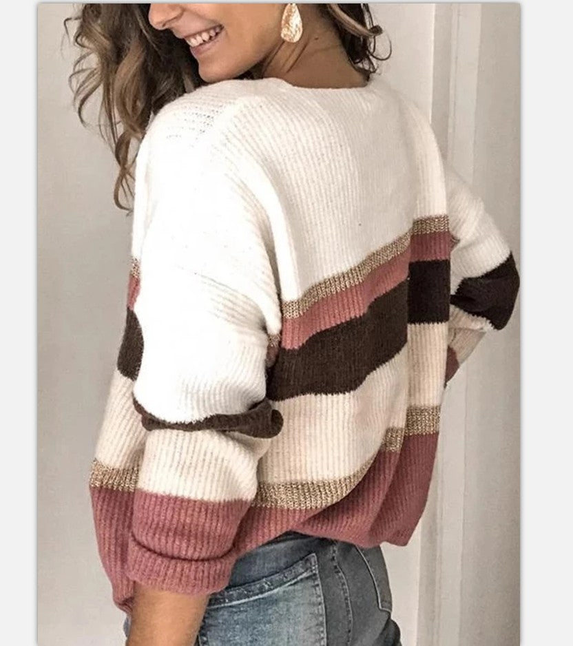 Casual Long-Sleeved Striped Stitching Contrast Sweater