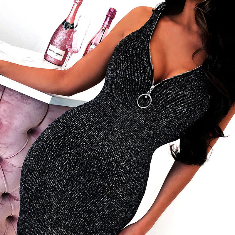 Zipper Vest Deep V-Neck Bag Hip Dress