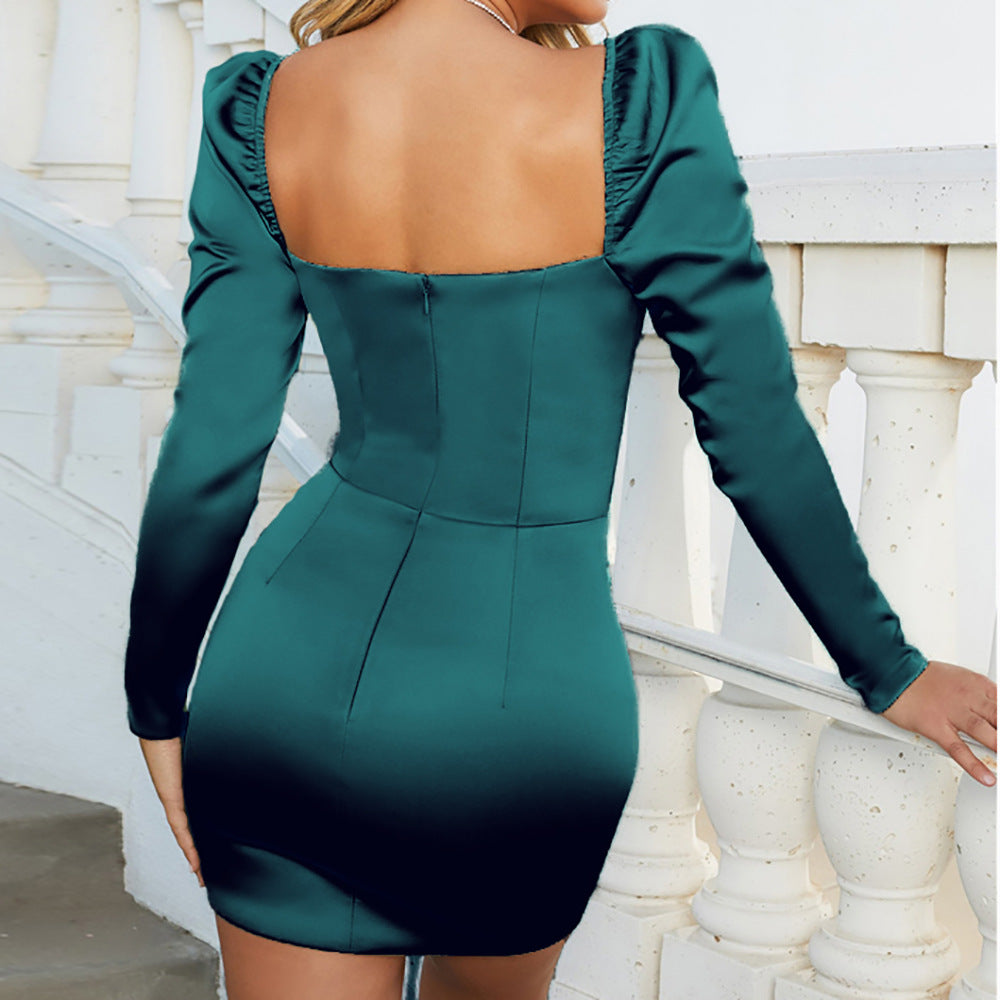 Solid Color V-Neck Wrapped Chest Sexy Slim Bag Hip Long-Sleeved Dress