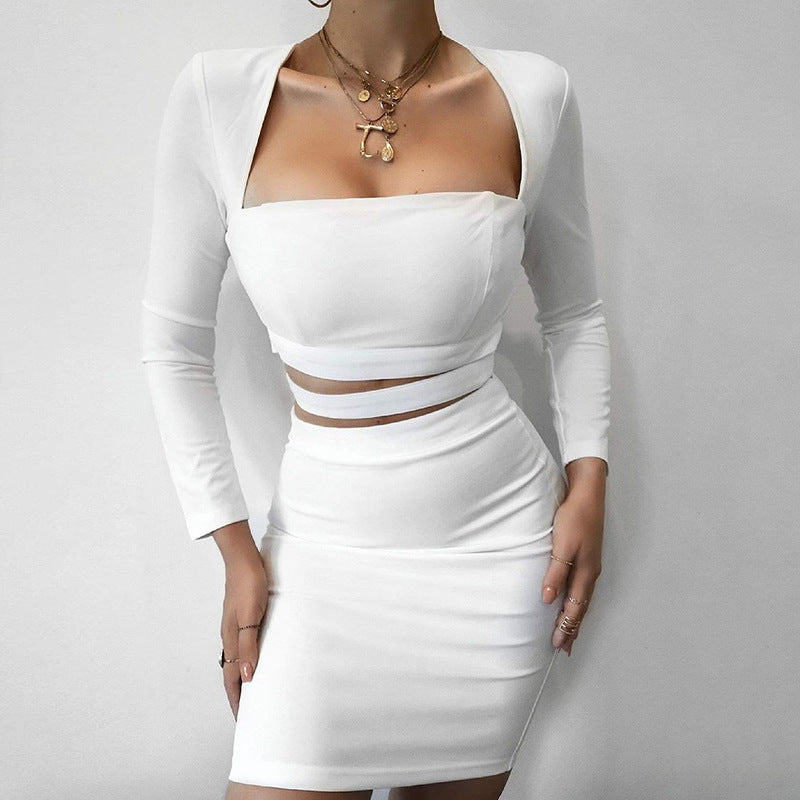 Solid Color Sexy Long Sleeve Slim Package Hip Dress