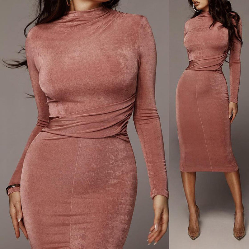 Solid Color Round Neck Long Sleeve Sexy Slim Dress