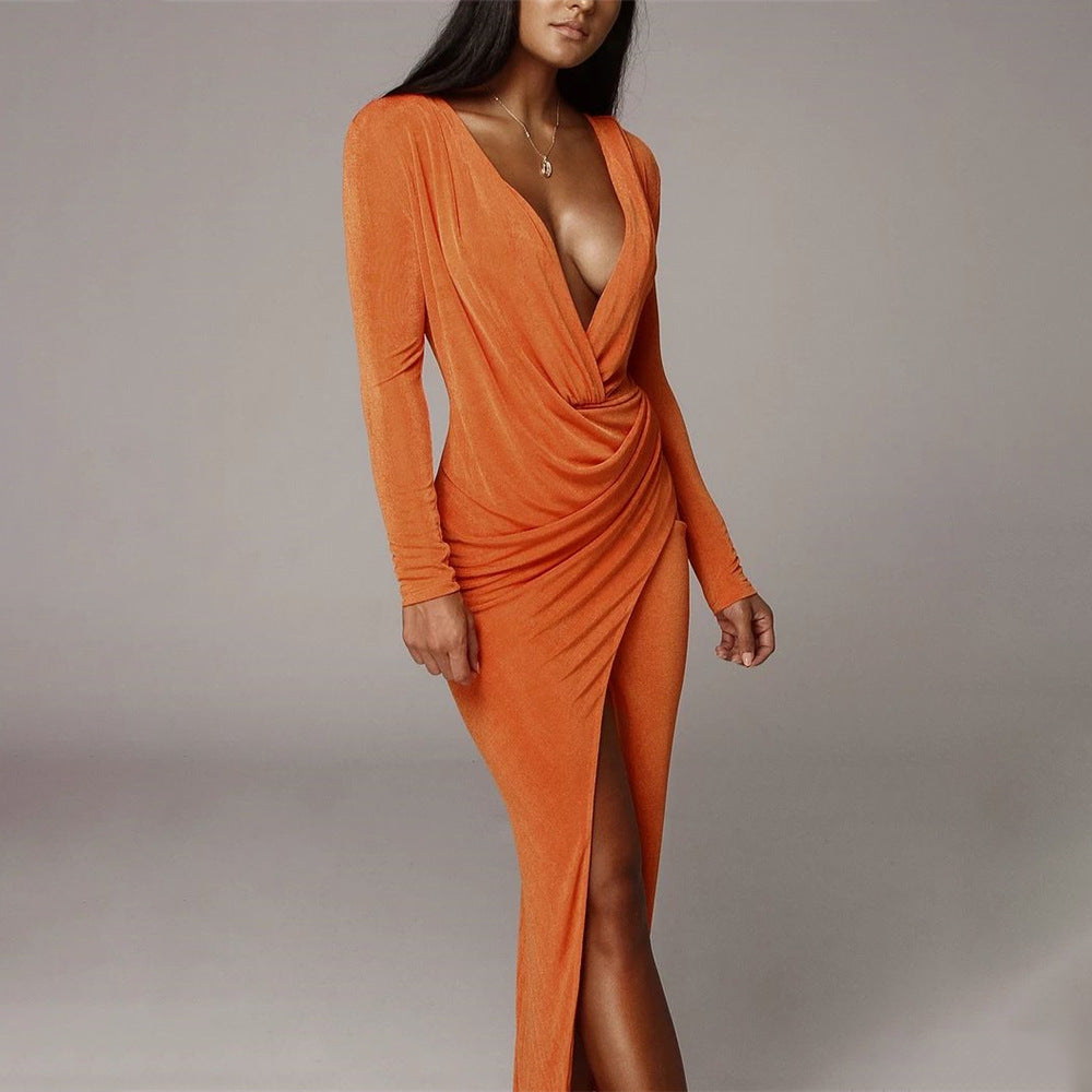 V-Neck Split Fishtail Sexy Bag Hip Long Sleeve Dress