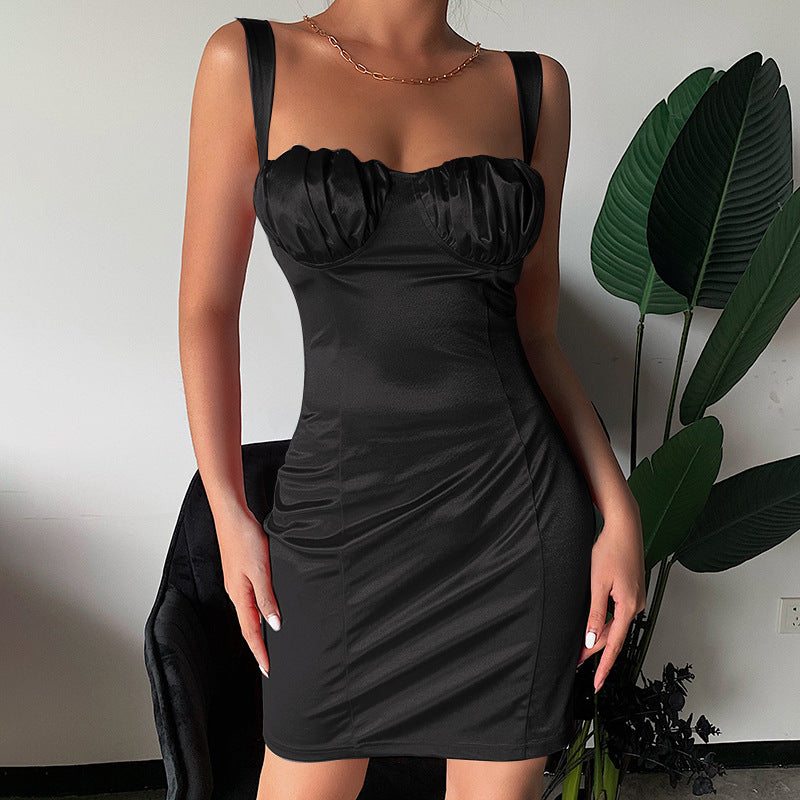 Solid Color Sling Sexy Package Hip Dress