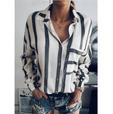 Loose Striped Long Sleeve Shirt
