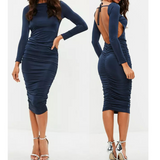 Round Neck Sexy Backless Long Sleeve Stretch Dress