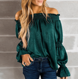 Fashion Halter Sexy Off-Shoulder Long Sleeve Top