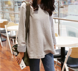 Loose Round Neck Large Size Striped Long-Sleeved T-Shirt
