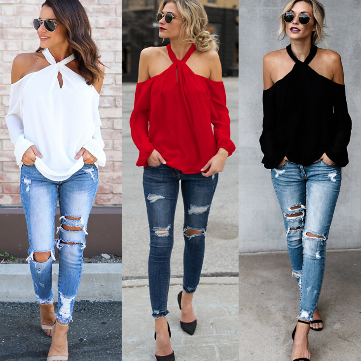 Women'S Solid Color Strapless Hanging Neck Long-Sleeved T-Shirt