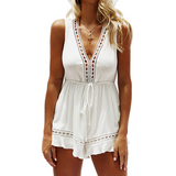 Women'S Sexy V-Neck White Jumpsuit