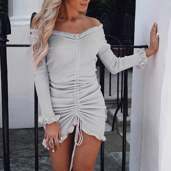 Sexy Solid Color Long-Sleeved Dress