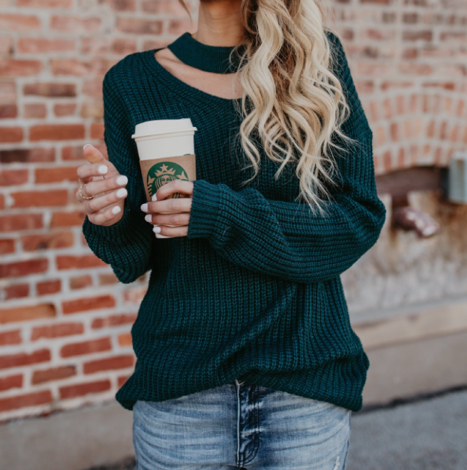Women's Solid Color Long Sleeve Knit Sweater