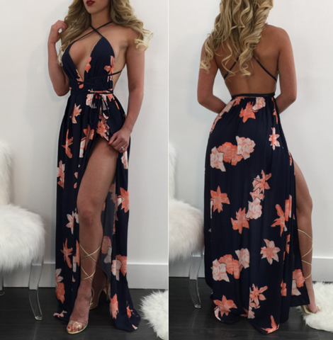 Fashion sleeveless backless dress