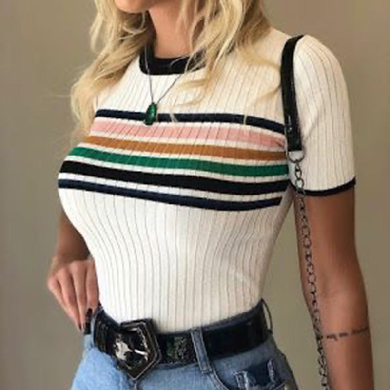 Round Neck Short Sleeve Striped Blouse
