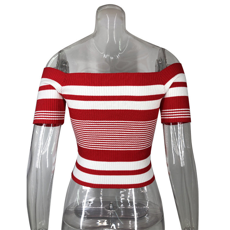 Backless Short Sleeve Stripes T-Shirts Top