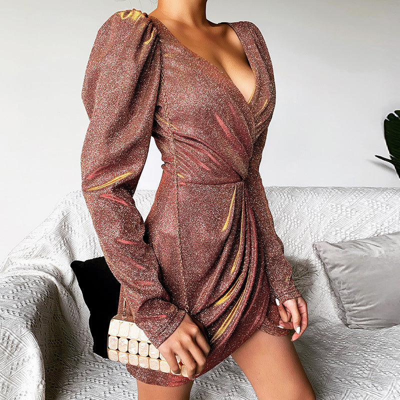 Fashion V-Neck Package Hip Sexy Long Sleeve Dress