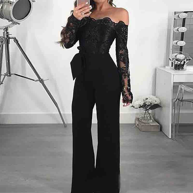 Casual One-Shoulder Lace Splicing Jumpsuit