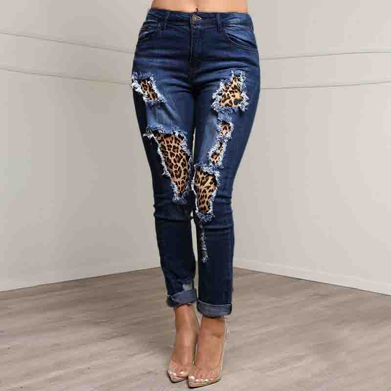 Slim Ripped Denim Splicing Leopard Print Trousers