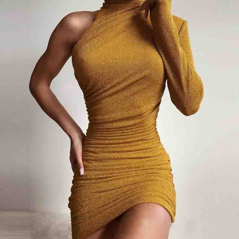 Design Yellow Long Sleeve Dress