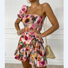 Women Floral One Shoulder Shirring Top & Wrap Skorts