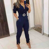 Women Casual Dark Blue Jumpsuit