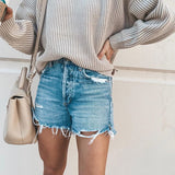 Loose Button Women'S Denim Shorts