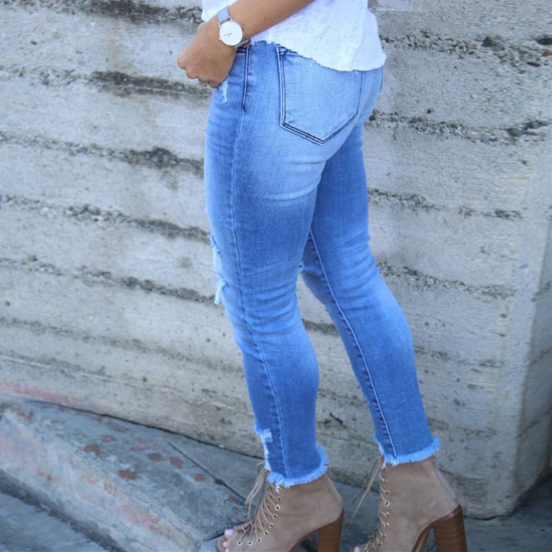 Sexy Women Ripped High Waist Jeans