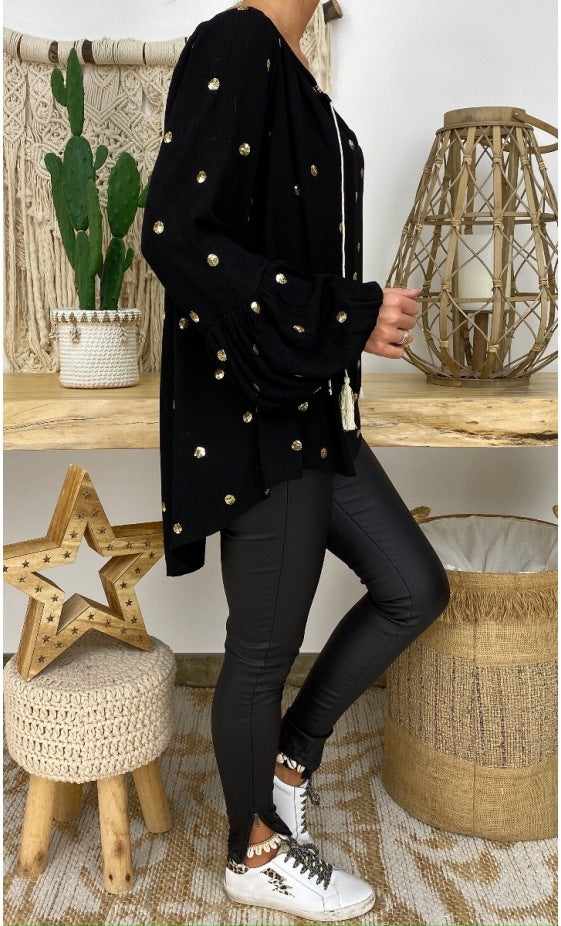 Women'S Long Sleeve V-Neck Polka Dot Sexy Top