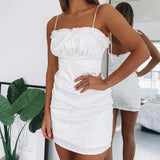 Leopard Jacquard Sexy White Sling Backless Wrapped Chest Hip Dress