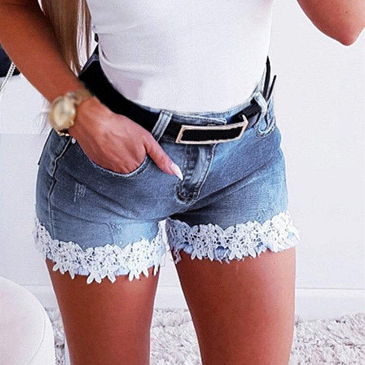 Slim Stretch Lace Stitching Denim Shorts