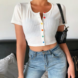 Fashion Temperament Solid Color Breasted Pit Striped T-Shirt T-Shirt
