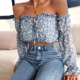 Long-Sleeved Women'S Floral Print Chiffon Shirt Top