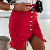 Single-Breasted Solid Color Stretch Denim Skirt