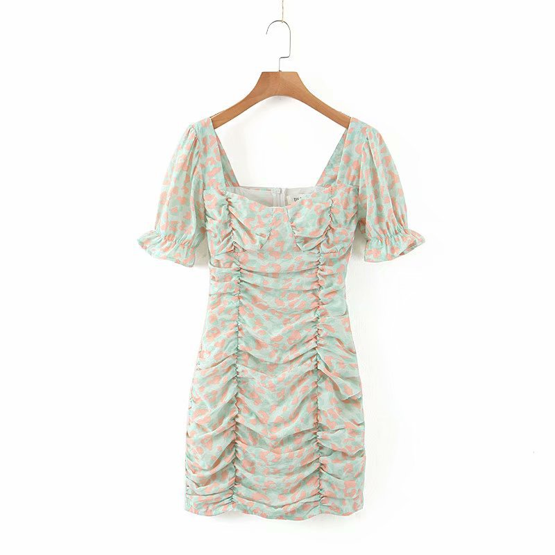 Printed Slim Sexy Short Sleeve Dress