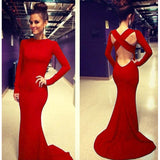 Sexy Red Cross Back Long Sleeve Mermaid Dress