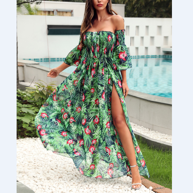 Women'S Sexy One-Shoulder Split High Waist Dress