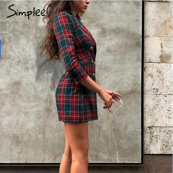 Long Sleeve High Waist Plaid Dress