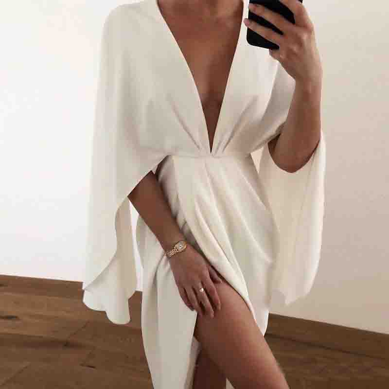 Solid Color Sexy White V-Neck Dress