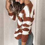 Long Sleeve Knit Casual V-Neck Striped Sweater