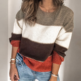 Striped Round Neck Fashion Long Sleeve Sweater
